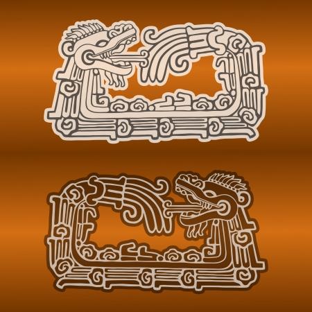 archaeological: Quetzalcoatl ouroboros, la serpiente maya redondo simb�lico, comiendo su propia cola Vectores