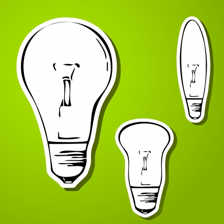 Three card looking light bulbs on green background