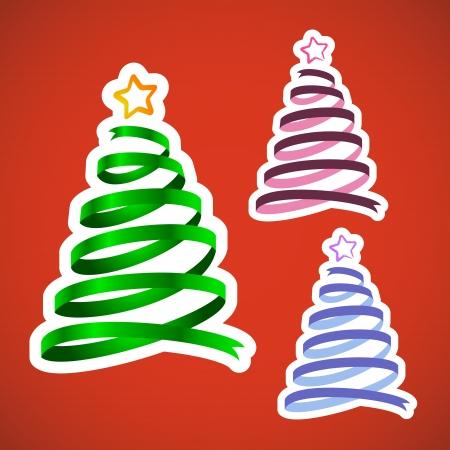 Three green Christmas ribbon trees, cartoon and realistic shiny Stock Vector - 18203528
