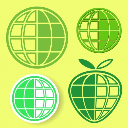 Logo set of four green globes on yellow background