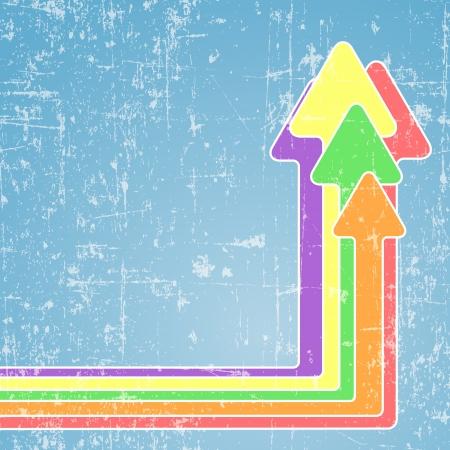 Five bright colorful arrows on light blue grunge background Illustration