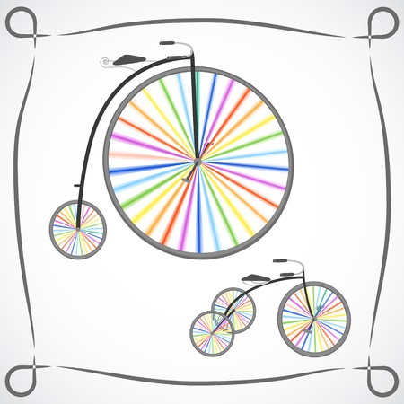 Two retro bicycles with rainbow colored wheels on white background Vector