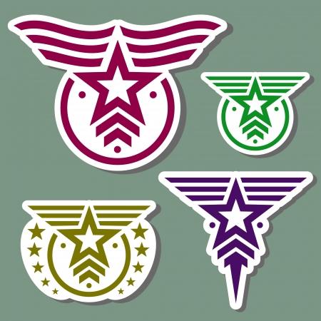 Logo militare stile impostato su sfondo verde camo Vettoriali