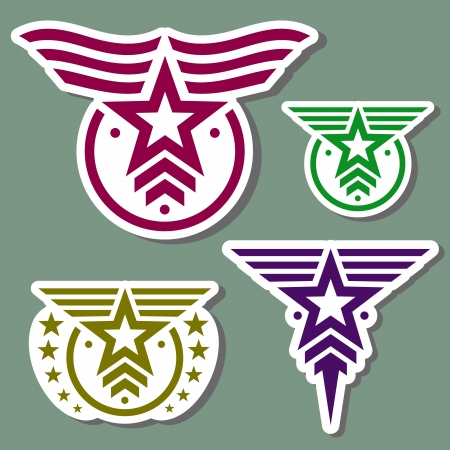 Military style logo set on camo green background