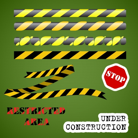 Under construction set  striped ribbons, stop sign, warning words
