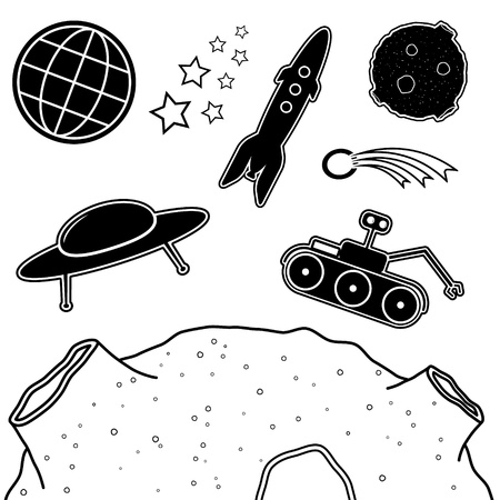 Set of cartoon space objects in black color Vector