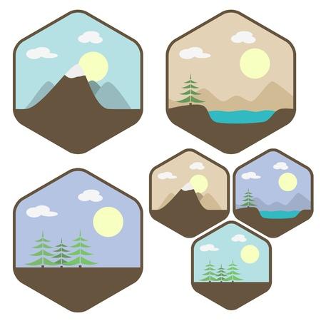 Set di icone di diversi paesaggi forestali, lago, montagna Vettoriali