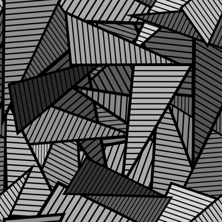 Gray striped triangles on black background, chaotic seamless pattern Illustration