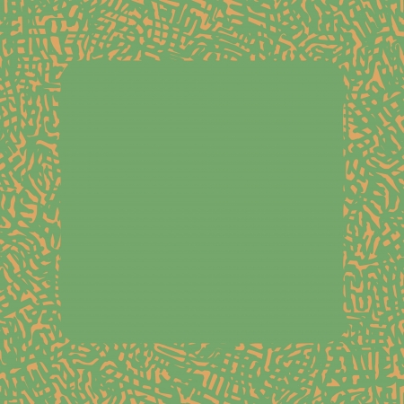 scratchy: Abstract scratchy border in light orange color on green background