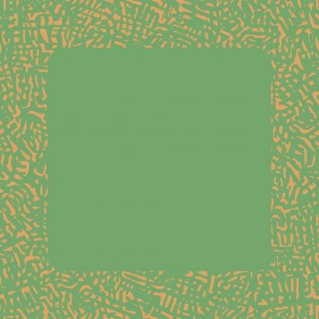 Astratto confine graffiante di colore arancio chiaro su sfondo verde