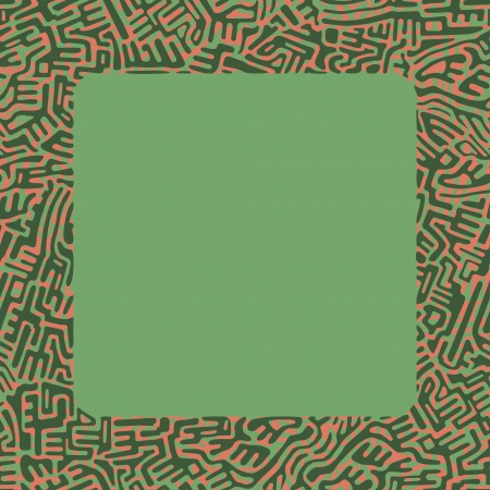 Abstract labyrinth border made of green and red shapes on green background Stock Vector - 18931760