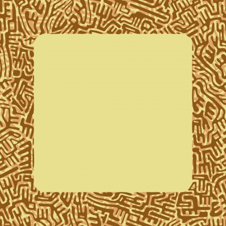 Abstract labyrinth border made of brown shapes on light yellow background Illustration