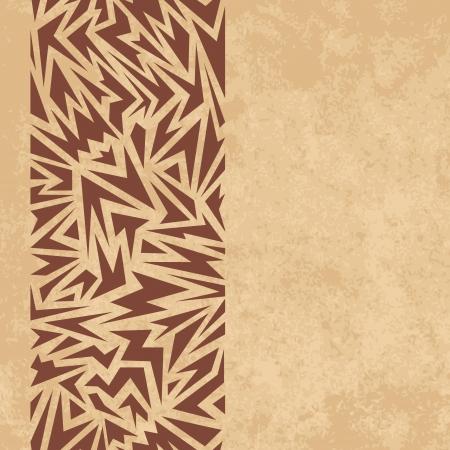 Confine astratto senza soluzione di continuit� di forme taglienti marroni su sfondo grunge carta