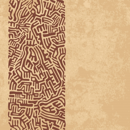 Abstract labyrinth border made of brown shapes on old paper background Stock Vector - 18990248
