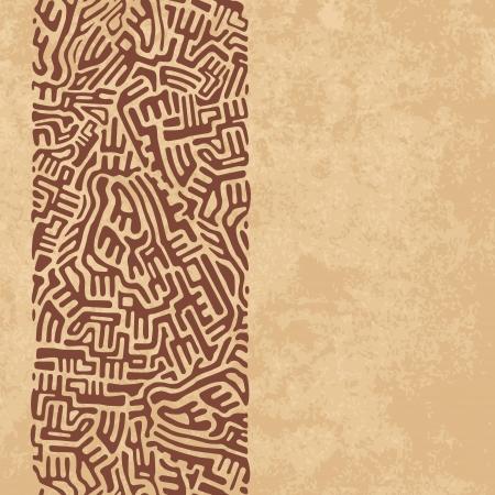 Confine astratto labirinto fatto di forme marroni su sfondo vecchia carta Vettoriali