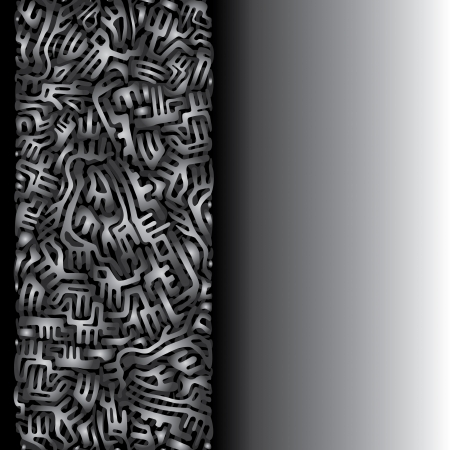 Abstract labyrinth border made of silver shapes on black and white background Stock Vector - 18990242
