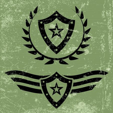estrellas  de militares: Dos emblemas del grunge estilo militar negras con escudos y estrellas