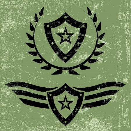 Two black military style grunge emblems with shields and stars
