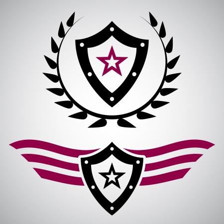 Due emblemi stile militare nero e viola con scudi e le stelle Vettoriali