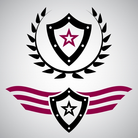 Two black and purple military style emblems with shields and stars
