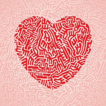 Abstract red heart made of doodle shapes on pink seamless background Vector
