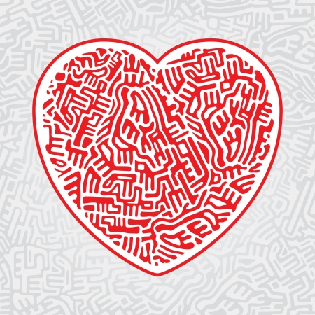 Abstract red heart made of doodle shapes on gray seamless background