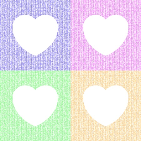 Four white heart patterns on seamless liquid background in pastel colors Stock Vector - 19383023