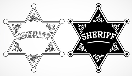 sheriff badge: Two sheriff stars with decorations, black and white