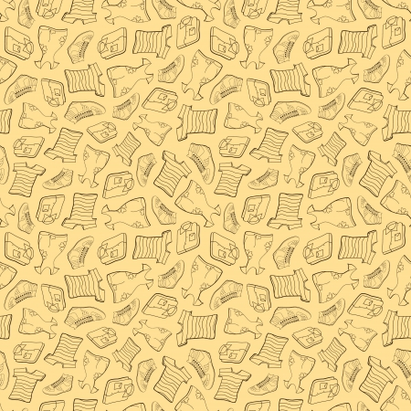 Seamless pattern of shirts, T-shirts, shoes and dresses Vector