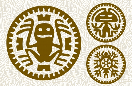 mayan prophecy: Abstract stylized maya animals and aliens on seamless background Illustration