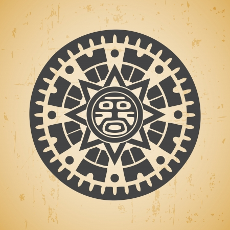 mayan culture: Abstract stylized maya sun symbol on beige background