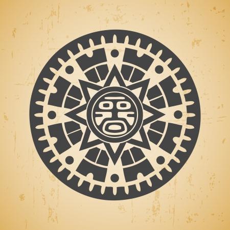 Resumen estilizada símbolo del sol maya en el fondo de color beige Ilustración de vector