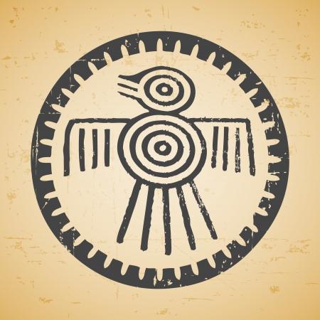 mayan prophecy: Abstract maya stylized bird on seamless retro background
