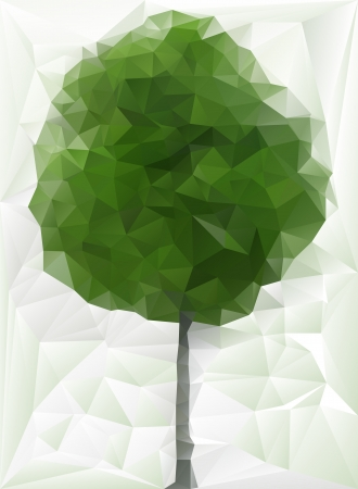 Abstract green tree made of triangles (paper look)