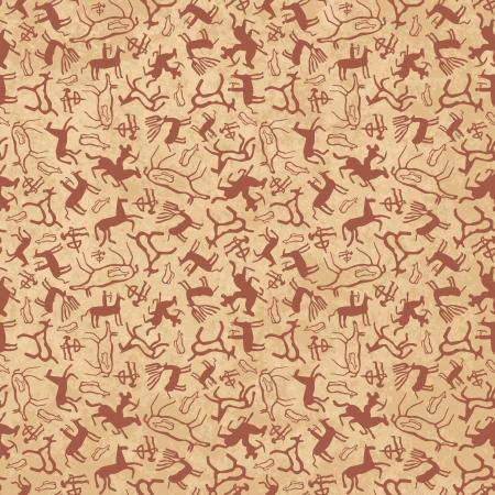 pintura rupestre: Arte rupestre patr�n sin costuras de los antiguos animales salvajes, caballos y cazadores Vectores