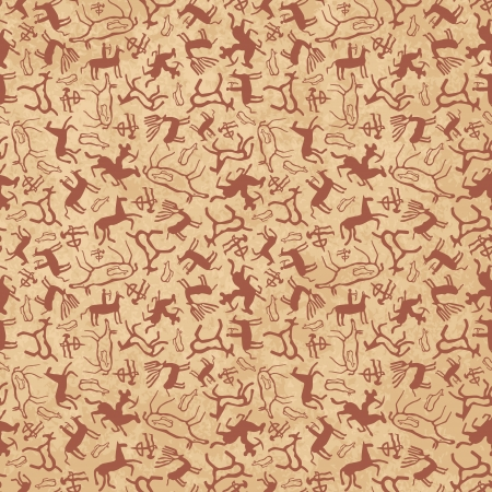 Cave art seamless pattern made of ancient wild animals, horses and hunters