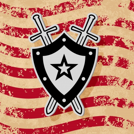 Black military style emblem on grunge flag background Vector