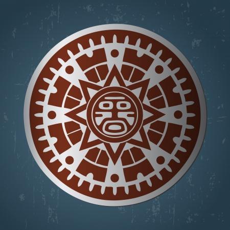 Abstract stylized maya sun symbol on dark blue background