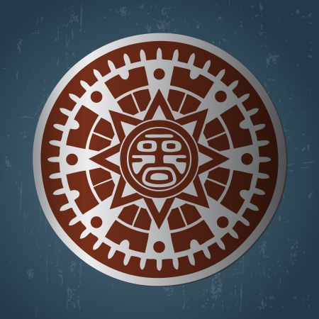 Stilizzata astratta maya simbolo del sole su sfondo blu scuro