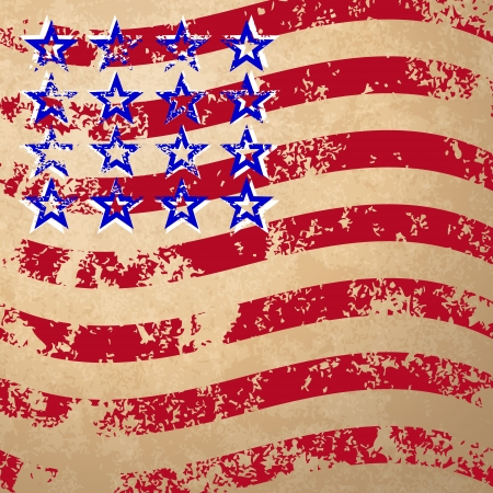 Grunge flag with red stripes and blue stars Illustration