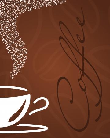 """Tazza di caff� astratta, i fagioli e la parola """"caff�"""" in colori marrone"""