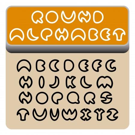 Circle shaped round-look black font on orange background