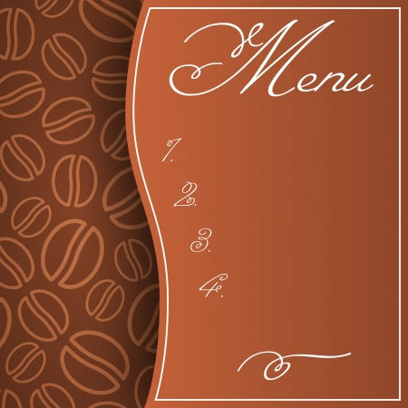 Abstract menu pattern in brown colors with coffee beans background Illustration