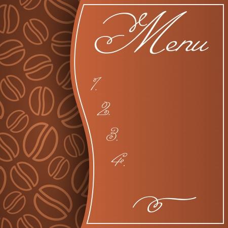 Modello di menu astratta nei colori marrone con chicchi di caff� sfondo Vettoriali