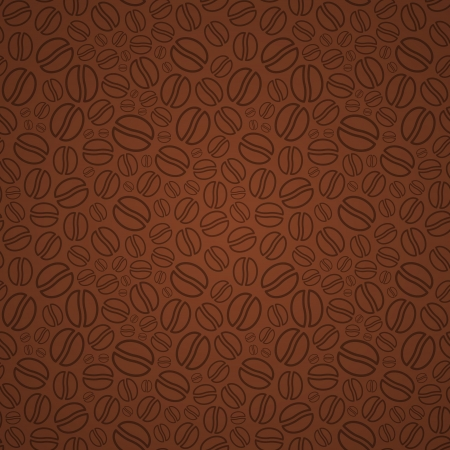 Seamless pattern in brown colors made of abstract coffee beans Ilustração