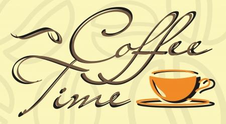 """Tazza di caff� astratta e parole """"Coffee time"""" in colori beige Vettoriali"""