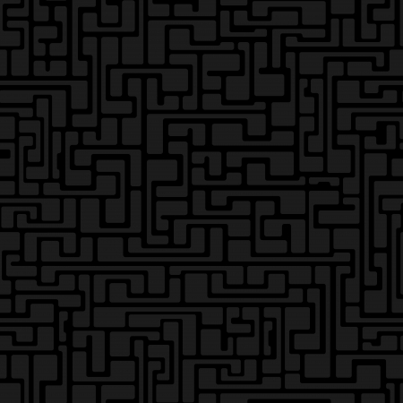 Labyrinth abstract seamless pattern in gray color on black background Stock Vector - 21934893