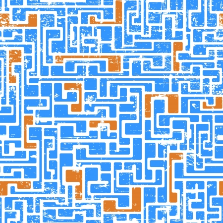 Labyrinth abstract seamless pattern in light blue and orange colors Stock Vector - 21934907