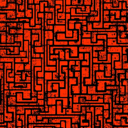 Labyrinth abstract seamless grunge pattern in dark red colors