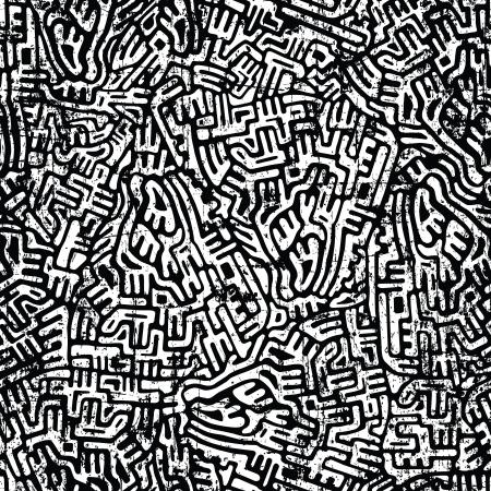 Labirinto astratto seamless grunge in colori scuri Vettoriali